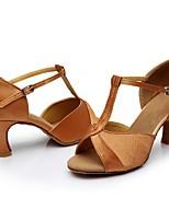 Недорогие -Жен. Обувь для латины Сатин Сандалии / На каблуках Планка Кубинский каблук Персонализируемая Танцевальная обувь Коричневый