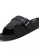 cheap -Men's Shoes Leather Summer Comfort Slippers & Flip-Flops for Casual Black Brown