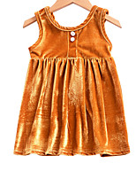 cheap -Girl's Daily Holiday Solid Colored Dress, Cotton Polyester Summer Sleeveless Cute Gold Blushing Pink