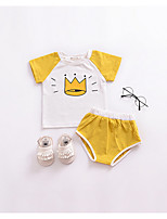 cheap -Unisex Print Clothing Set, Cotton Summer Short Sleeves Yellow