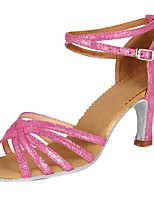 cheap -Women's Latin Faux Suede Patent Leather Sandal Heel Party Training Buckle Chunky Heel Pink 2 - 2 3/4inch Customizable