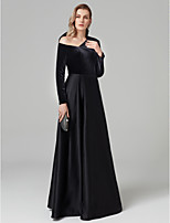 cheap -A-Line One Shoulder Floor Length Satin Velvet Formal Evening Dress with Pleats by TS Couture®