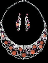 cheap -Women's Rhinestone Silver Plated Colorful Moon Jewelry Set 1 Necklace Earrings - Colorful Fashion European Moon Orange Jewelry Set Hoop