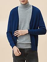 Недорогие -Муж. Простой Длинный рукав Кардиган - Сплошной цвет V-образный вырез
