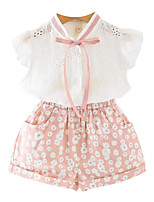cheap -Girls' Daily Holiday Floral Clothing Set, Cotton Polyester Summer Short Sleeves Cute Active Green Blushing Pink
