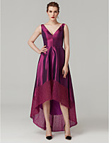 cheap -A-Line V Neck Asymmetrical Lace Taffeta Prom / Formal Evening Dress with Pleats by TS Couture®