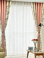 cheap -Curtains Drapes Living Room Solid Colored Floral Contemporary Cotton / Polyester Printed