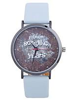 Недорогие -Жен. Кварцевый Модные часы Китайский Крупный циферблат PU Группа Часы с текстом Мода Черный Белый Синий Серебристый металл Красный
