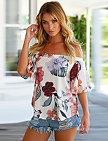 cheap -Women's Cute Street chic Blouse - Floral, Backless