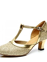 cheap -Women's Latin Paillette Sandal Indoor Chunky Heel Gold Silver Purple Brown 1 - 1 3/4inch Customizable