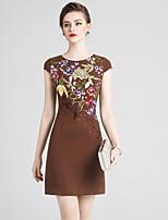 Недорогие -Жен. Классический Шинуазери (китайский стиль) Прямое Платье - Однотонный Цветочный принт Выше колена