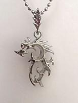 abordables -Homme Dragon Pendentif de collier  -  simple Pierre Argent 48cm Colliers Tendance Pour Quotidien
