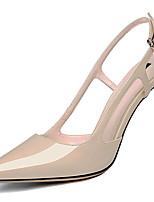 abordables -Femme Chaussures Cuir Verni Eté / Automne Gladiateur / Escarpin Basique Chaussures à Talons Talon Aiguille Bout pointu Noir / Amande