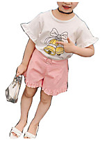 cheap -Girls' Daily Solid Colored Print Clothing Set, Cotton Rayon Summer Short Sleeves Basic White