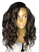 cheap -Remy Human Hair Lace Front Wig Brazilian Hair Wavy Wig Layered Haircut 130% Natural Hairline / For Black Women Black Women's Short Human Hair Lace Wig