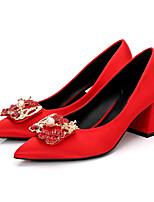 abordables -Mujer Zapatos Seda Primavera / Otoño Pump Básico Tacones Tacón Cuadrado Dedo Puntiagudo Pedrería / Perla de Imitación Rojo / Rosa claro