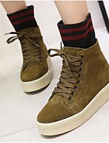 baratos -Mulheres Sapatos Couro Inverno Conforto Botas Sem Salto para Preto Bege Verde Tropa