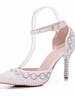 cheap -Women's Shoes PU Spring / Fall Novelty / Comfort Wedding Shoes Stiletto Heel Pointed Toe Rhinestone / Pearl / Buckle for Wedding / Party