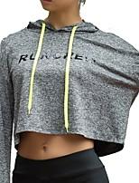 abordables -Femme Tee-shirt de Course Hauts / Top - Des sports Manches Longues Séchage rapide strenchy Gris foncé, Gris