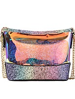 cheap -Women's Bags PU Shoulder Bag Zipper for Casual All Seasons Black Rainbow Brown
