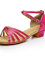 cheap -Women's Latin Shoes Silk Heel Indoor / Practice Low Heel Customizable Dance Shoes Fuchsia