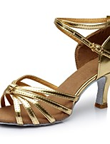 cheap -Women's Latin Shoes Leatherette Sandal / Heel Splicing Customized Heel Customizable Dance Shoes Gold / Indoor