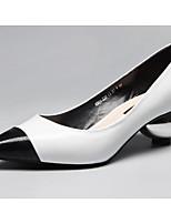 Недорогие -Жен. Обувь Наппа Leather / Кожа Весна / Осень Удобная обувь Обувь на каблуках Гетеротипическая пятка Белый / Черный / Marron