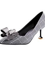 Недорогие -Жен. Обувь Полиуретан Весна / Осень Удобная обувь / Туфли лодочки Обувь на каблуках На шпильке Черный / Серый