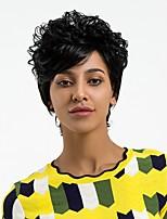 abordables -Perruque Synthétique Bouclé Coupe Lutin Ligne de Cheveux Naturelle Noir Femme Sans bonnet Perruque Naturelle Court Cheveux Synthétiques