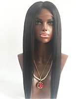 cheap -Unprocessed Wig Brazilian Hair Straight Middle Part 130% Density With Baby Hair Natural Hairline Black Short Long Mid Length Women's