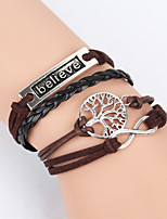 cheap -Men's Women's Leather Tree of Life Infinity Wrap Bracelet - Infinity Brown Bracelet For Daily Office & Career Street