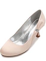 abordables -Femme Chaussures Satin Printemps Eté Confort Chaussures de mariage Kitten Heel Strass Noeud Fleur en Satin Paillette Brillante pour