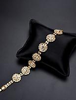 cheap -Women's Cubic Zirconia Rhinestone 1pc Chain Bracelet - Classic Vintage Elegant Circle Flower Gold Bracelet For Wedding Evening Party