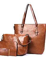 cheap -Women's Bags PU Leather Bag Set 3 Pcs Purse Set Zipper for Office & Career Red / Gray / Brown