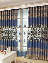 baratos -Sheer Curtains Shades Sala de Estar Sólido Floral Algodão / Poliéster Bordado