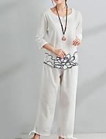 abordables -Femme Basique Chinoiserie Chemisier - Couleur Pleine Fleur, Imprimé Pantalon