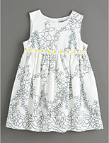 cheap -Girl's Daily Floral Dress Summer Cute Basic White