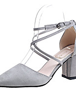cheap -Women's Shoes PU Spring Comfort Heels Chunky Heel Pointed Toe for Casual Black Beige Gray Pink