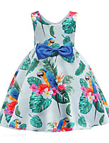 cheap -Girl's Daily Going out Print Dress, Cotton Polyester Spring Summer Sleeveless Cute Active Blue