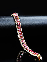 cheap -Women's Crystal Cubic Zirconia Rhinestone Gold 1pc Chain Bracelet - Classic Vintage Elegant Circle Pink Bracelet For Wedding Evening Party