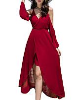 abordables -Femme Vacances Mince Gaine Robe Couleur Pleine Col en V Epaules Dénudées Asymétrique