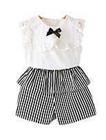 cheap -Girls' Daily Striped Clothing Set, Cotton Rayon Summer Sleeveless Basic White