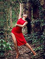 abordables -Danse latine Robes Femme Utilisation Soie Glacée Fendue Sans Manches Robe