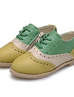 cheap -Girls' Shoes Leatherette Spring Fall Comfort Oxfords Split Joint Lace-up for Casual Outdoor Beige Light Green