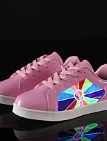 abordables -Femme Chaussures Similicuir Printemps Automne Chaussures Lumineuses Confort Basket Marche Talon Plat Bout rond Boucle pour De plein air