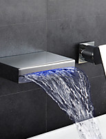 cheap -Bathroom Sink Faucet - Waterfall Widespread Chrome Wall Mounted Single Handle Two Holes