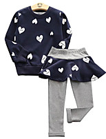 cheap -Girls' Daily Solid Colored Clothing Set, Polyester Spring Long Sleeves Cute Red Blushing Pink Navy Blue