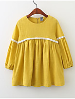 cheap -Girls' Cute Going out Solid Colored Long Sleeves Cotton Dress