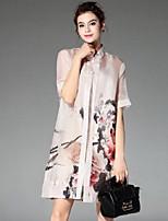 cheap -PROVERB Women's Casual Basic Shirt Dress - Floral Crew Neck