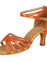 cheap -Women's Latin Samba Salsa Faux Suede Patent Leather Sandal Heel Party Training Buckle Chunky Heel Orange 2 - 2 3/4inch Customizable